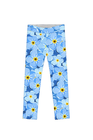 Forget-Me-Not Lucy Cute Blue Floral Printed Leggings - Girls - Pineapple Clothing