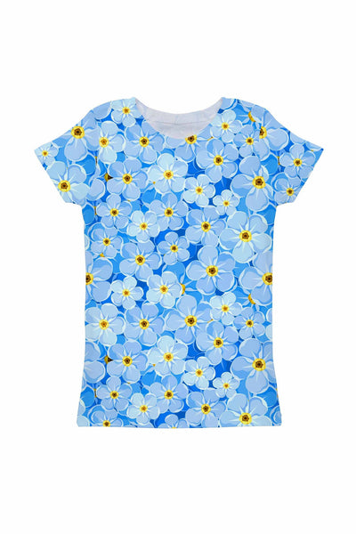Forget-Me-Not Zoe Blue Floral Print Cute Designer Tee - Girls