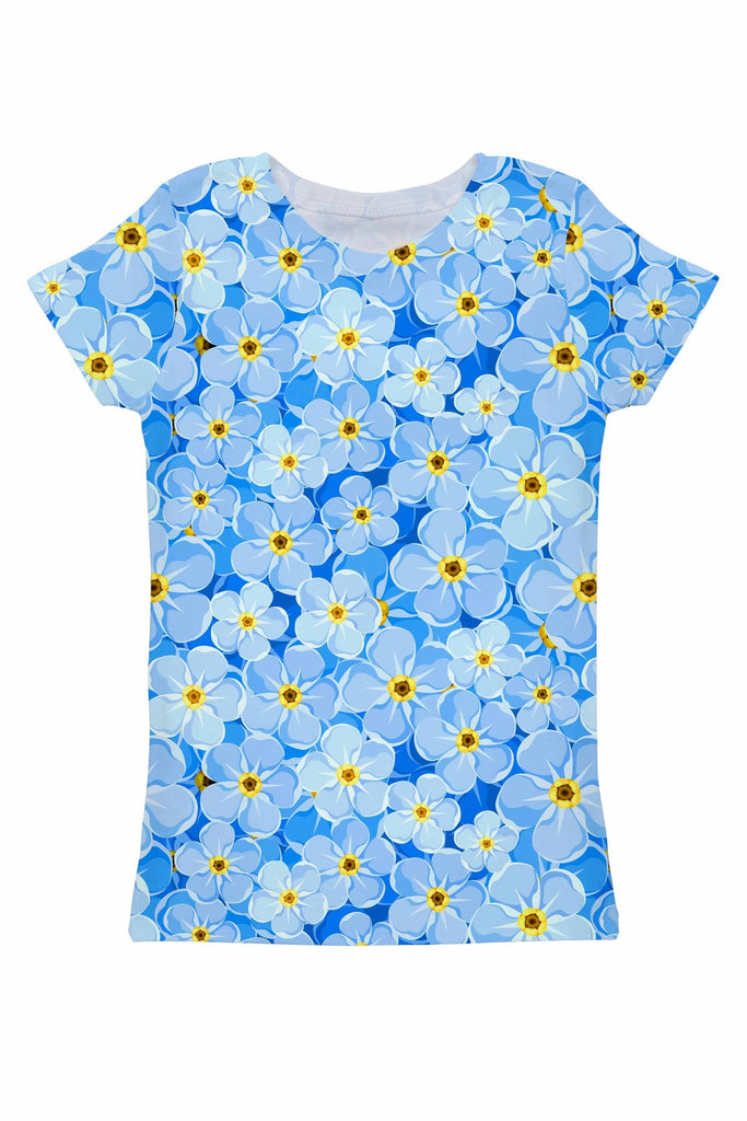 Forget-Me-Not Zoe Blue Floral Print T-Shirt - Women - Pineapple Clothing
