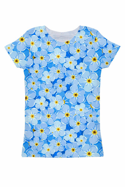Forget-Me-Not Zoe Blue Floral Print T-Shirt - Women