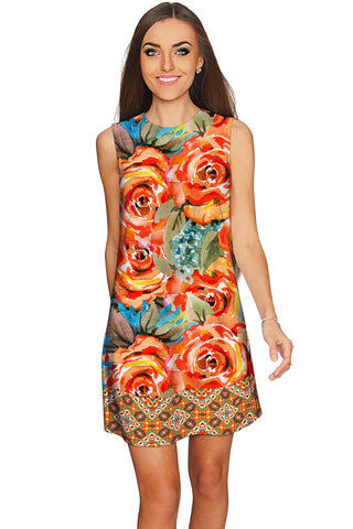 Fox Adele Yellow Floral Boho Print Chic Shift Dress - Women - Pineapple Clothing