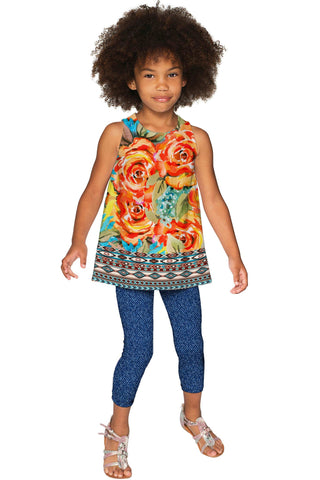 Fox Emily Yellow Floral Print Sleeveless Chic Party Top - Girls - Pineapple Clothing