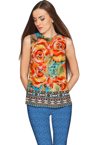 Fox Emily Orange Designer Sleeveless Dressy Top - Women - Pineapple Clothing