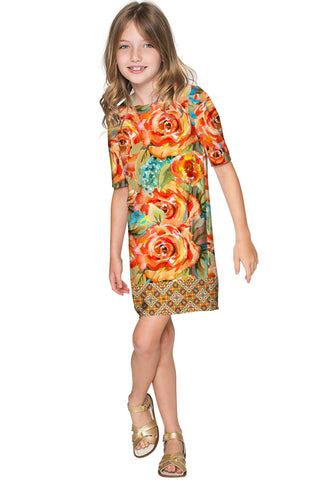 Fox Grace Catchy Floral Fall Sleeved Shift Dress - Girls - Pineapple Clothing