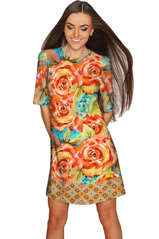 Fox Grace Yellow Flower Print Sleeved Shift Dress - Women - Pineapple Clothing