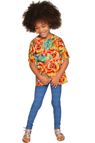 Fox Sophia Chic Yellow Floral Print Sleeved Fall Top - Girls - Pineapple Clothing