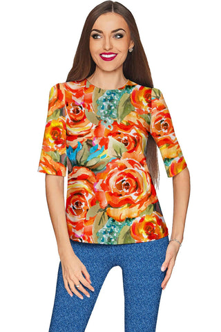 Fox Sophia Yellow Floral Print Unique Fashion Top - Women - Pineapple Clothing