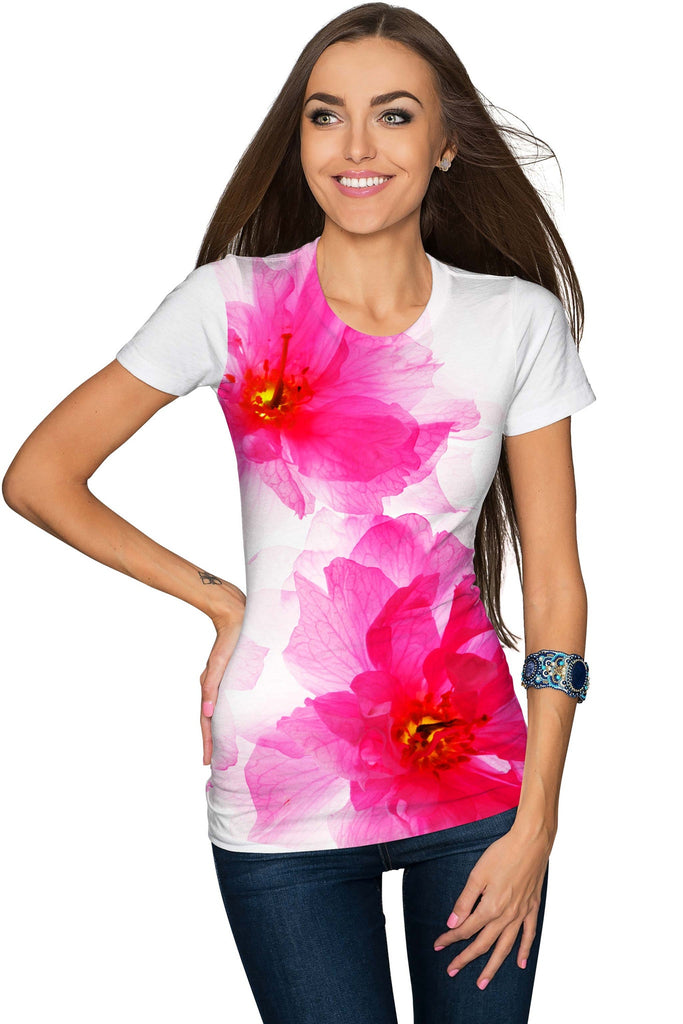 Fragrance Zoe White Pink Floral Print Designer Tee - Women - Pineapple Clothing