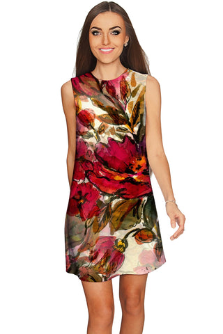 Free Spirit Adele Red Flower Print Boho Shift Dress - Women - Pineapple Clothing