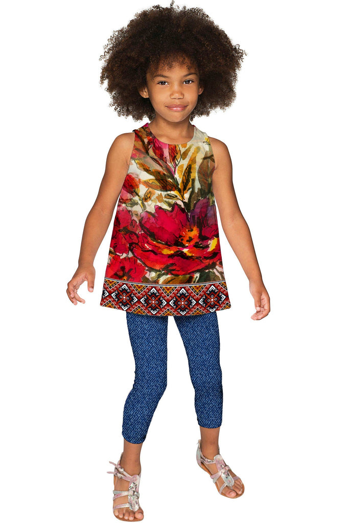 Free Spirit Emily Red Flower Boho Sleeveless Party Top - Girls - Pineapple Clothing