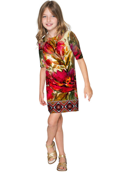 Free Spirit Grace Red Floral Fall Boho Shift Dress - Girls