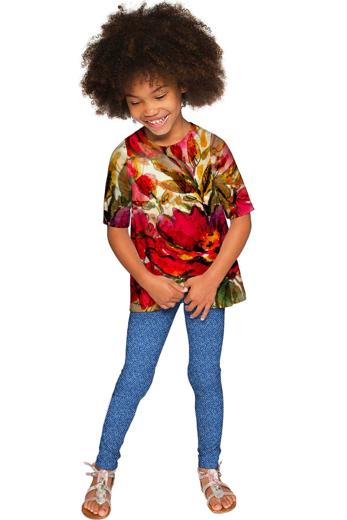 Free Spirit Sophia Red Floral Print Stretch Party Top - Girls - Pineapple Clothing