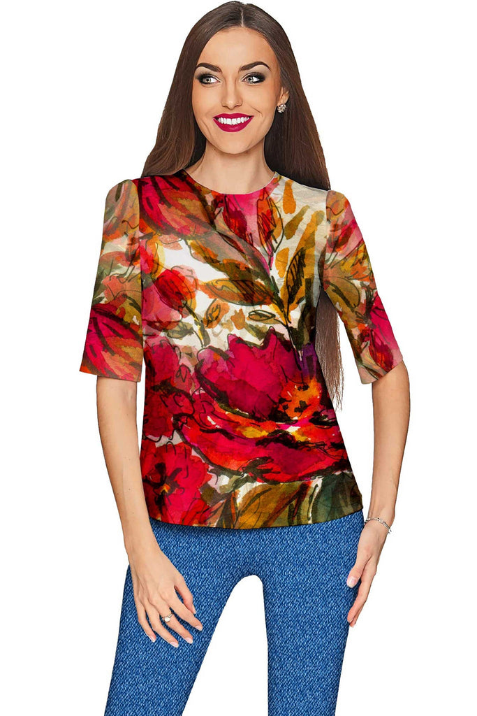 Free Spirit Sophia Red Floral Print Boho Party Top - Women - Pineapple Clothing