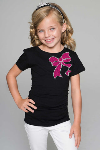Fuchsia Bow Tee - Girls - Pineapple Clothing
