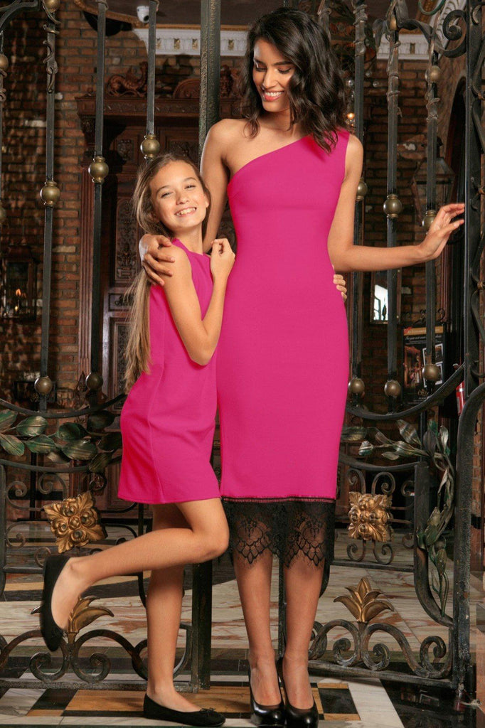 8756bdfbaae9c Fuchsia Hot Pink Stretchy Spring Summer Party Mommy and Me Dress -  Pineapple Clothing