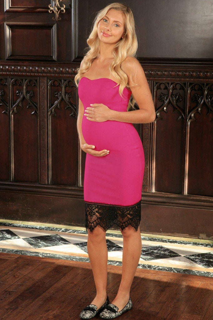 Fuchsia Hot Pink Stretchy Sweetheart Bodycon Dress - Women Maternity