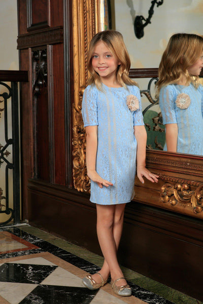 Baby Blue Crochet Lace Elbow Sleeve Shift Spring Party Dress - Girls