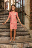 Dusty Pink Lace Elbow Sleeve Shift Fancy Party Cocktail Dress - Girls - Pineapple Clothing