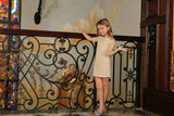 Beige Stretchy Lace Elbow Sleeve Cute Fancy Party Shift Dress - Girls - Pineapple Clothing