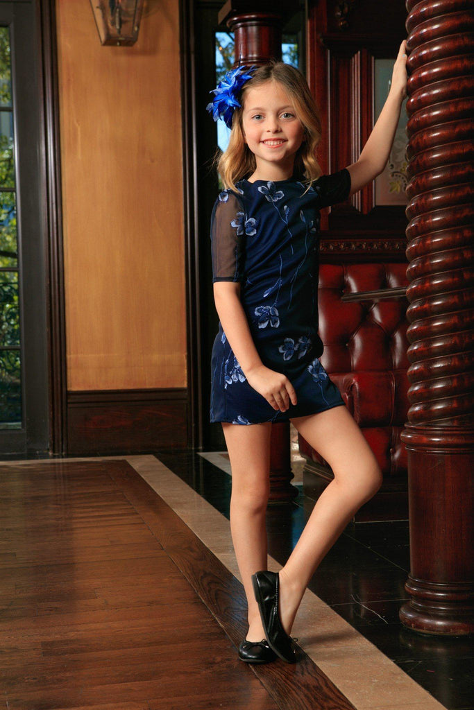 Navy Blue Floral Elbow Sleeve Cute Cocktail Party Shift Dress - Girls - Pineapple Clothing