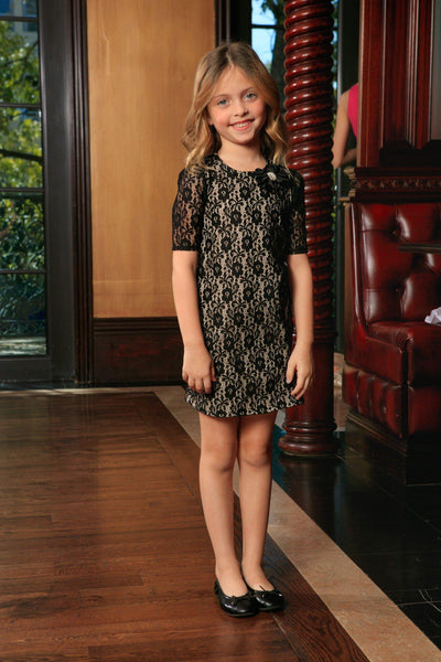 Black Lace Elbow Sleeve Shift Cute Fancy Cocktail Party Dress - Girls