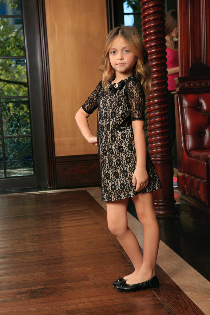 Black Lace Elbow Sleeve Fancy Party Chic Shift Mother Daughter Dresses - Pineapple Clothing