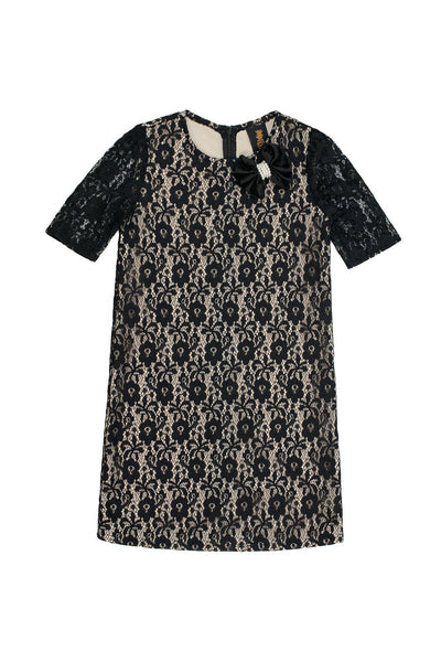 Black Lace Elbow Sleeve Fancy Party Chic Shift Mother Daughter Dresses