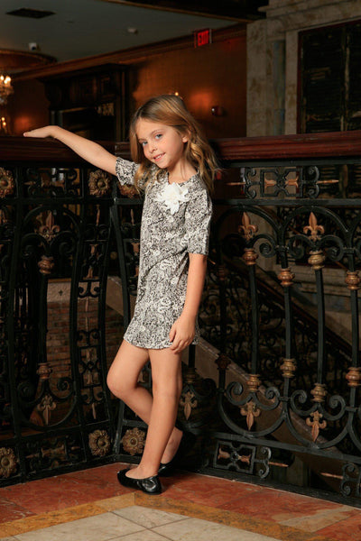 Black White Stretchy Elbow Sleeve Shift Cute Spring Dress - Girls