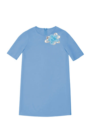 Blue Cute A-line Shift Casual Party Dress - Girls