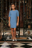 Blue Stretchy Elbow Sleeve Cute Spring Shift Dress - Girls - Pineapple Clothing