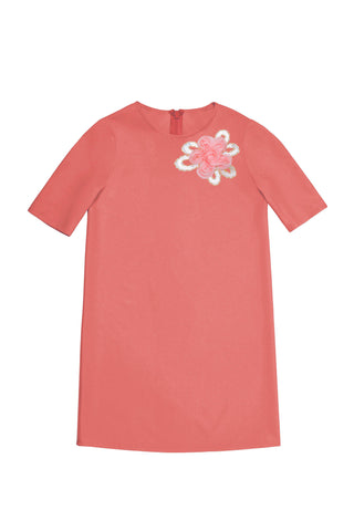 Coral Pink Cute A-line Shift Casual Party Dress - Girls