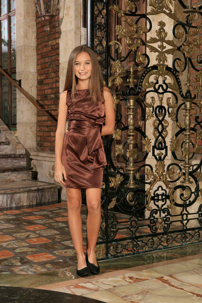 Chocolate Brown Charmeuse Fancy Party Shift Dress With Belt - Girls