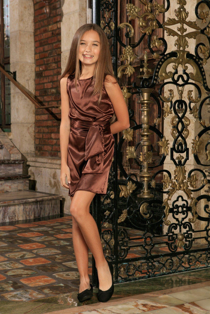 Chocolate Brown Sleeveless Shift Mommy and Me Party Dress with belt - Pineapple Clothing
