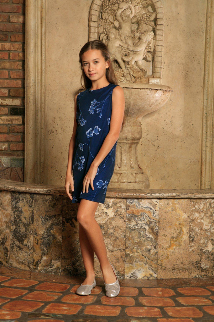 Navy Blue Floral Lace Sleeveless Cocktail Shift Mommy and Me Dress - Pineapple Clothing