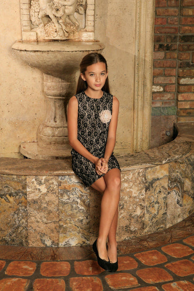Black Lace Sleeveless Fancy Cute Party Cocktail Shift Dress - Girls