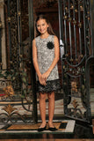 Black White Stretchy Sleeveless Shift Party Dress with lace trim - Girls - Pineapple Clothing