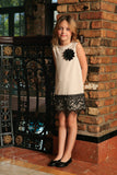 Ivory Beige Stretchy Fancy Spring Shift Dress With Lace Trim - Girls - Pineapple Clothing