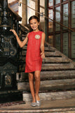 Coral Red Crochet Lace Holiday Beautiful Mother Daughter Shift Dress - Pineapple Clothing