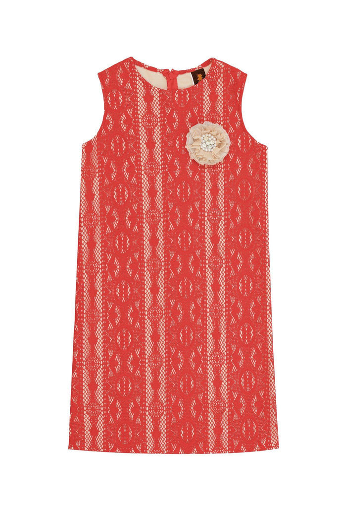 Coral Red Crochet Lace Sleeveless Mommy and Me Matching Summer Dresses - Pineapple Clothing
