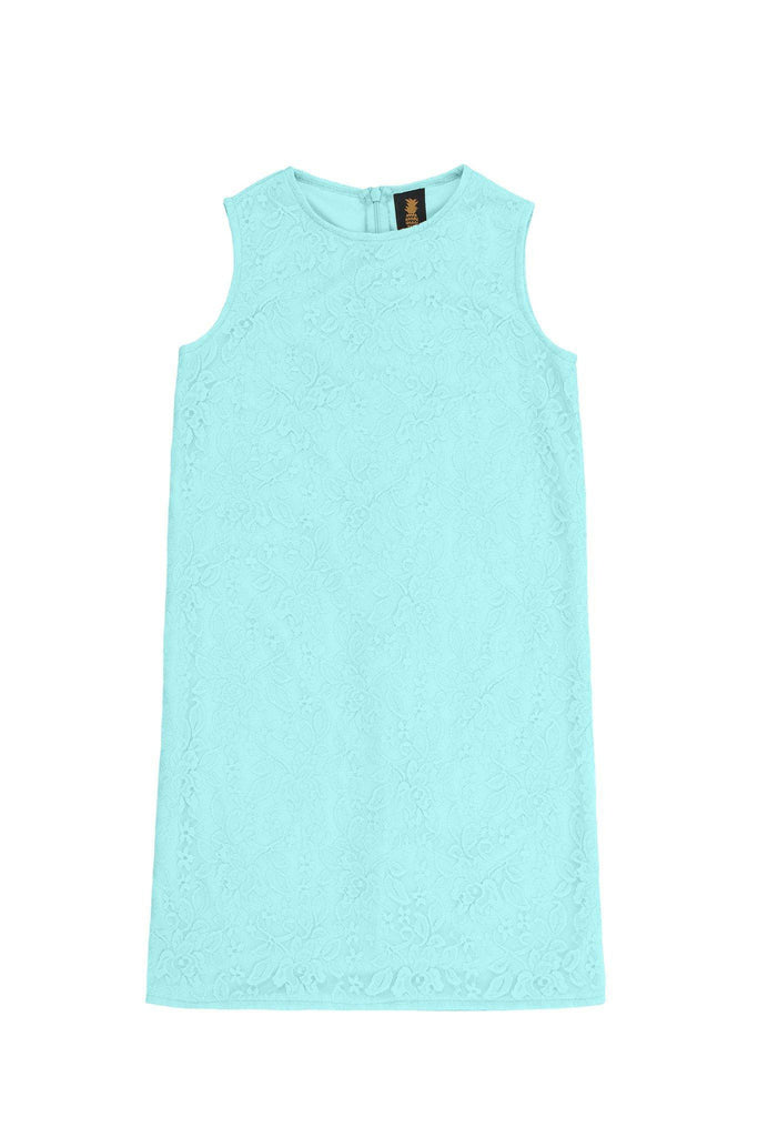 Mint Blue Stretchy Lace Sleeveless Shift Mommy and Me Dress Plus Size - Pineapple Clothing