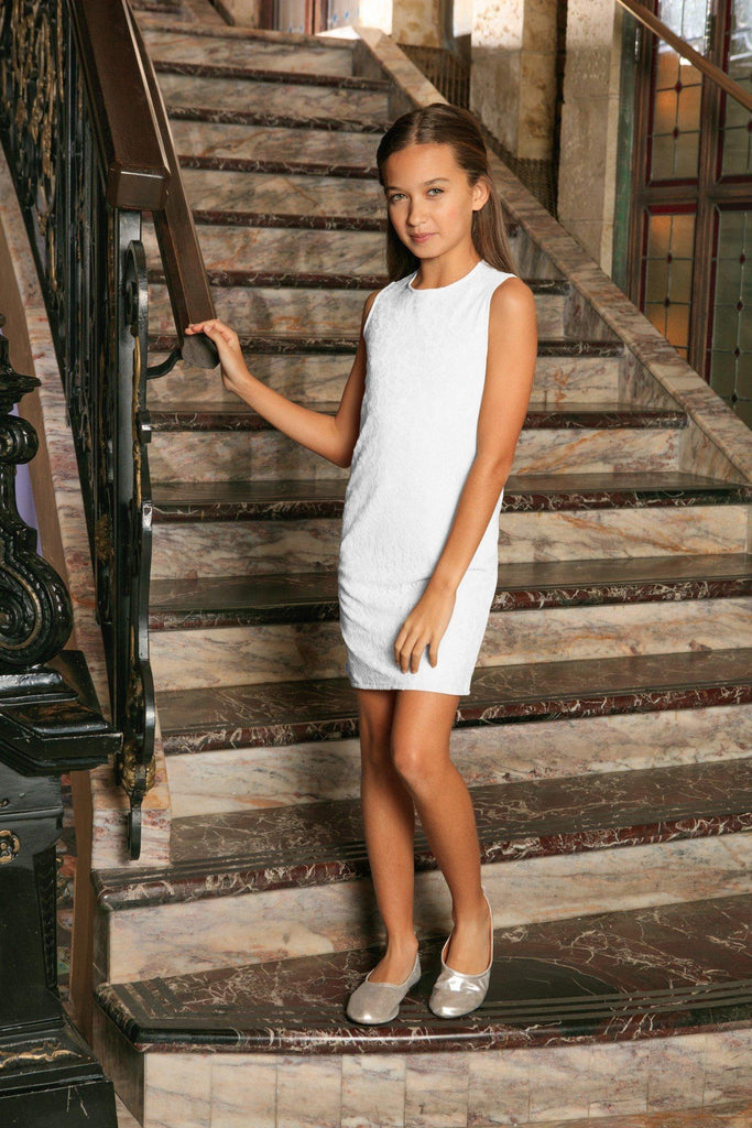 white stretchy lace sleeveless cute summer mommy & me dress plus