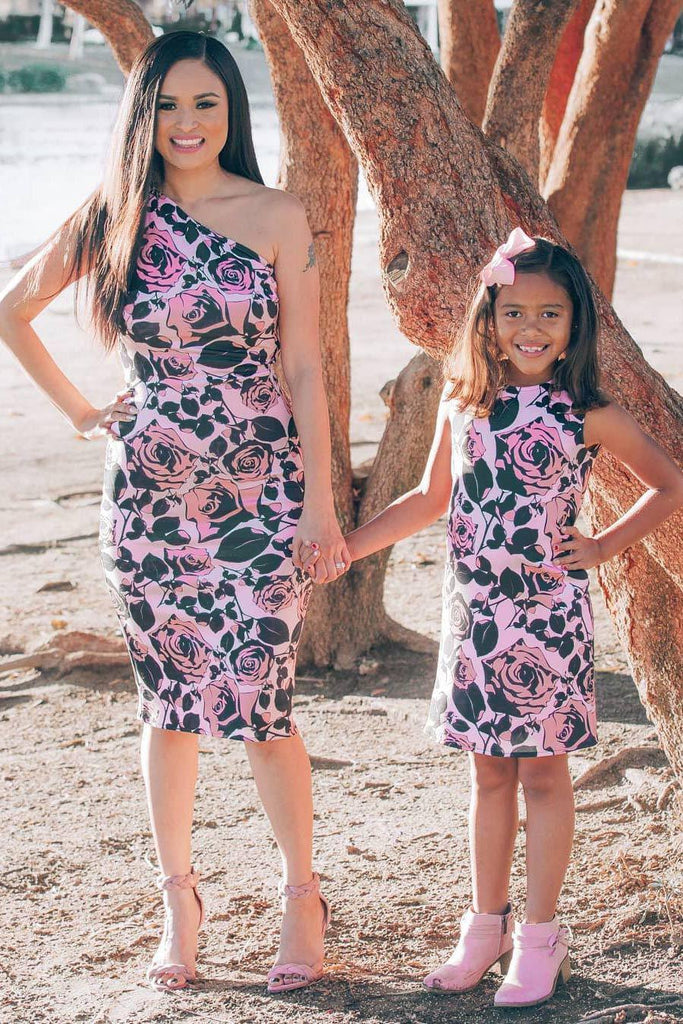 de901bae7eb90 Flirty Girl Pink Black Floral Mommy and Me Dress – Pineapple Clothing