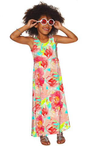 Good Idea Bella Empire Waist Summer Beach Maxi Dress - Girls - Pineapple Clothing