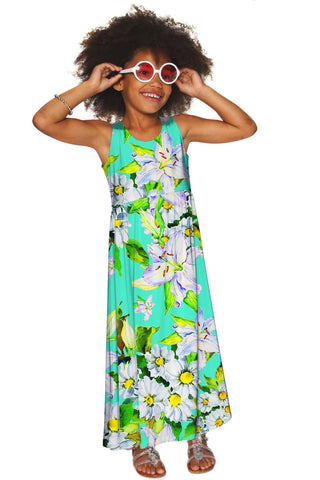Flower Party Bella Green Empire Waist Resort Summer Maxi Dress - Girls - Pineapple Clothing