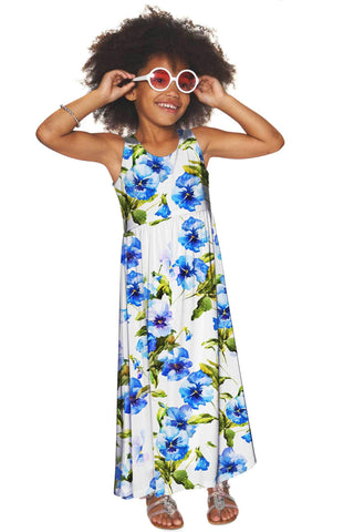 Catch Me Bella White Floral Summer Empire Waist Maxi Dress - Girls - Pineapple Clothing