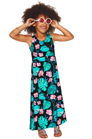 Amaryllis Bella Black Floral Sleeveless Empire Waist Maxi Dress - Girls