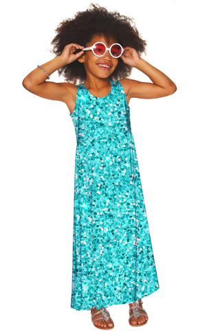 Glittering Azure Bella Blue Sleeveless Empire Waist Maxi Dress - Girls - Pineapple Clothing
