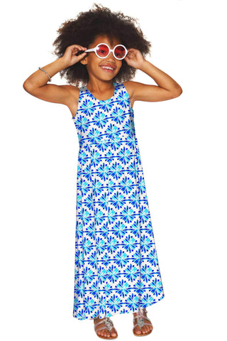 Charisma Bella White & Blue Summer Empire Waist Maxi Dress - Girls - Pineapple Clothing