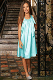 Light Blue Charmeuse Cute Halter Swing Dress - Girls - Pineapple Clothing