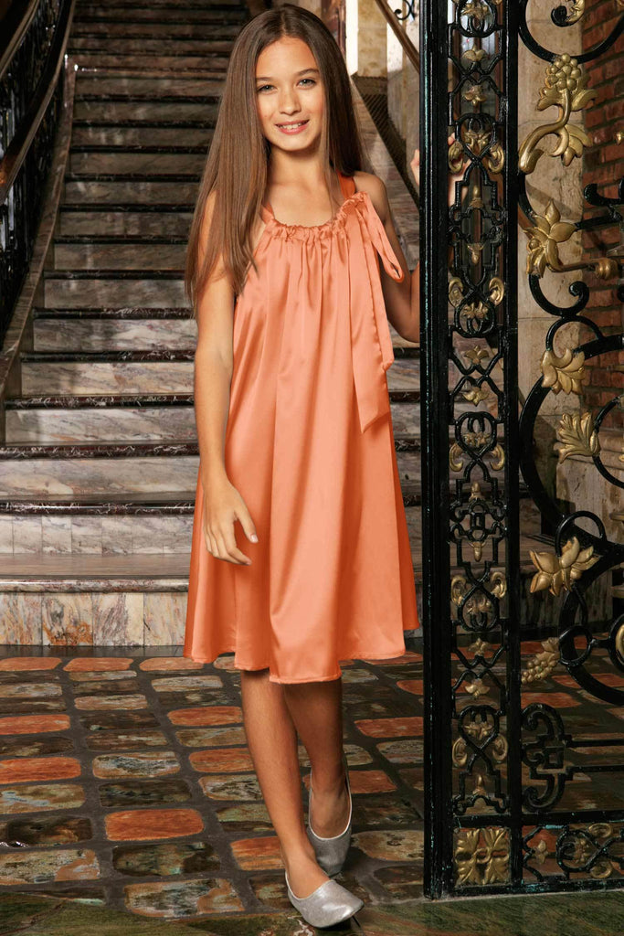 Orange Charmeuse Spring Summer Halter Swing Dress - Girls - Pineapple Clothing